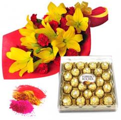 Holi Gifts Flowers N Chocolates
