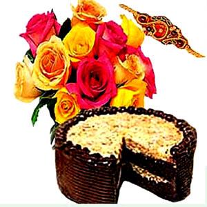 Rakhi with Flowers N Cake