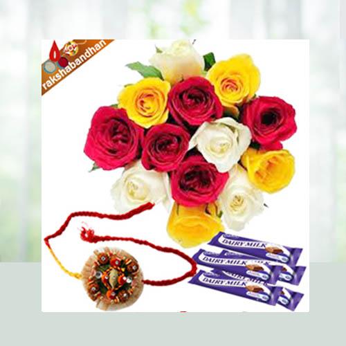 Rakhi with Flowers N Chocolates