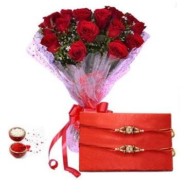 Rakhi with Red Roses
