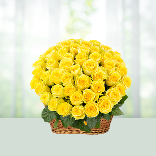 100 Yellow Rose Basket