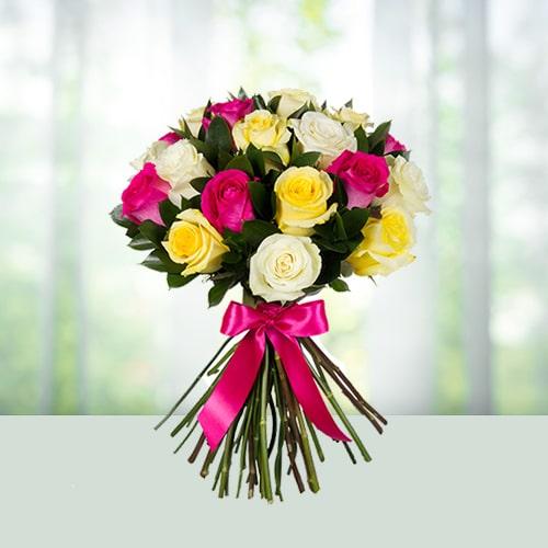 25 Mix Roses Flowers Bouquet