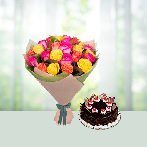 Mixed Roses and Blackforest cake
