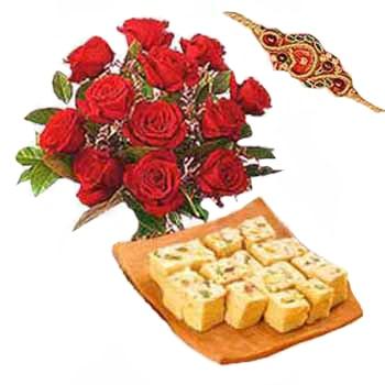 10 Roses with Sohan papri and a Rakhi