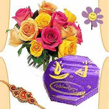 Rakhi with 12 Roses and Cadbury Celebrations Chocolates to India