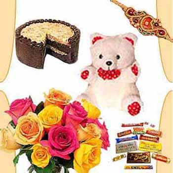 Rakhi Combo - 10 Roses N Half Kg Cake N Teddy N Chocolates Free Rakhi