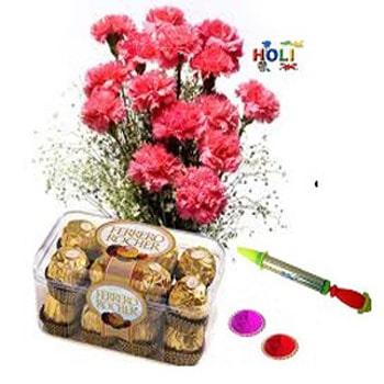 15 red carnation Bouquet n 16 pcs ferrero roucher chocolate box