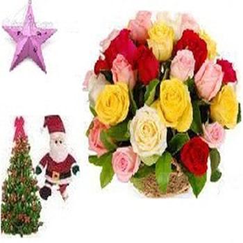 24 Mixed Roses Basket with Free Santa, Christmas Tree, Star