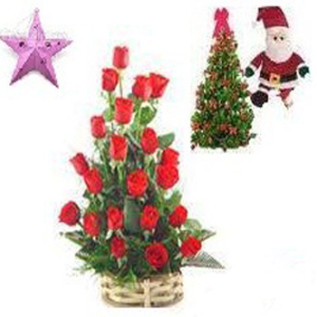 21 red roses basket with free christmas tree,santa and star