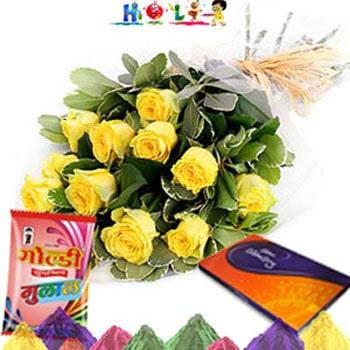 Yellow Roses N Celebration-Holi