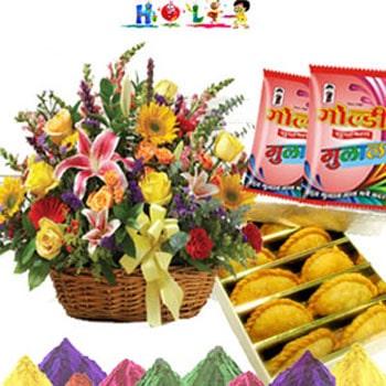 Holi Gujjias with Fresh Flowers
