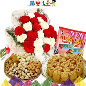 Holi Gifts-Carnations N Dryfruits Combo