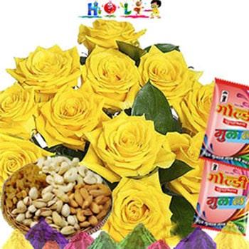 Holi Gifts- Yellow Roses N Dryfruits