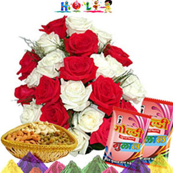 Holi Gift-Red N White Rose with Dryfruits