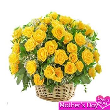 Basket of 50 yellow roses