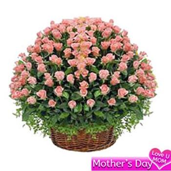 Basket of 100 pink roses