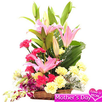 Basket of lilies, carnations and orchids
