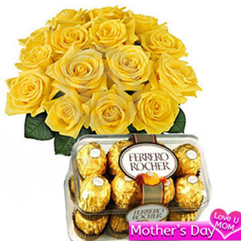 Yellow Roses with Ferrero