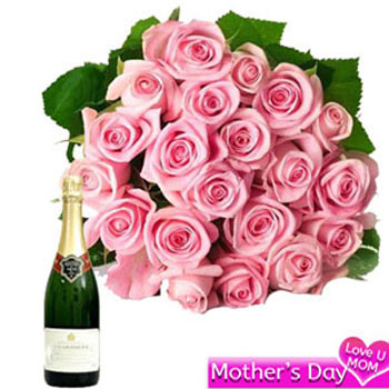 Pink Roses with Champagne