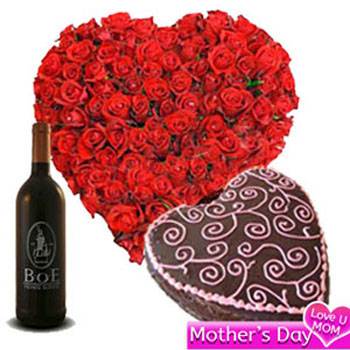 Mothers Day Floral Heart Combo