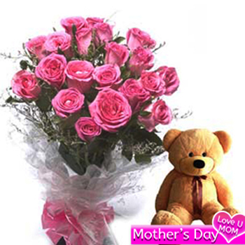Pink roses n teddy combo