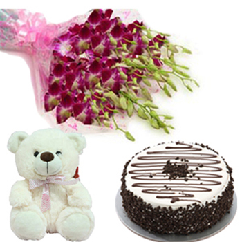 Orchids cake n teddy combo