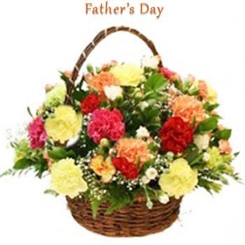 Basket of 15 mix color carnations