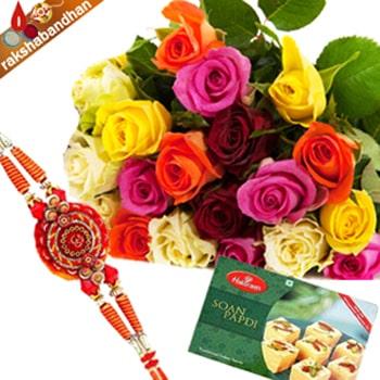Rakhi-20 Mix Roses with 1Kg Soan Papdi