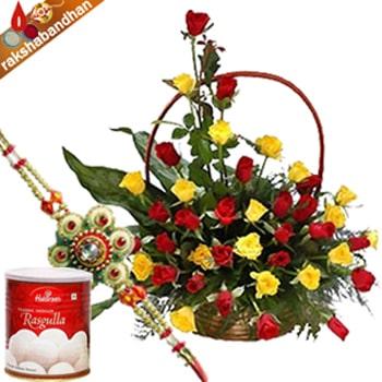 Rakhi-Roses Basket with Rasgulla