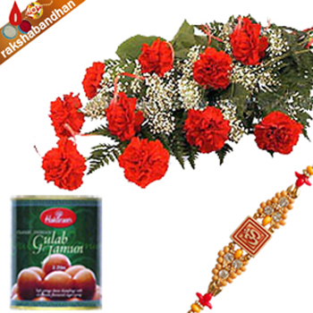 Red Carnations with Rakhi and Jammun