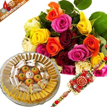 Kaju Sweets with Rakhi and Roses