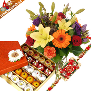 Sweets with Flowers and Rakhi