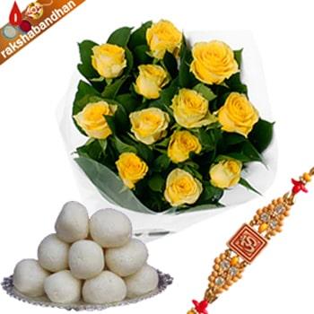 Rasgulla with Yellow Roses for Rakhi