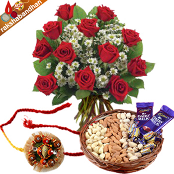 Rakhi-Red Roses with Dryfruit and Chocolates