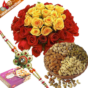 Rakhi-Flower with 500gms Dryfruits and Soan Papdi