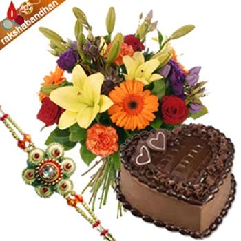 Rakhi- Heart Shape Chocolate Cake Treat