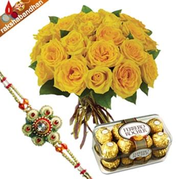 Yellow Roses with Ferrero-Rakhi