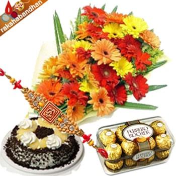 Gerberas with Cake and Ferrero-Rakhi