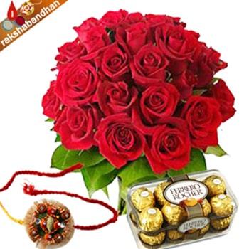 Rakhi Red Roses with Ferrero Treat