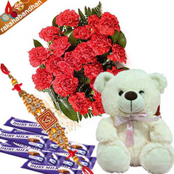 Rakhi Chocolate with Teddy N Carnations