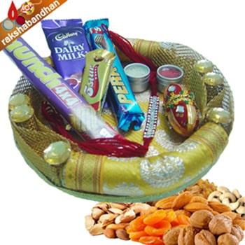 Rakhi-Designer Round Tray with Dryfruits n Chocolates