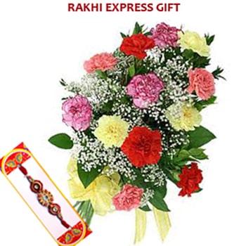 Rakhi with Mix Carnations Sameday