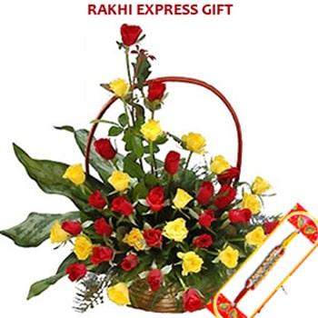 Rakhi with Basket of Rose Sameday