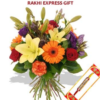 Rakhi with Seasonal Flower Sameday