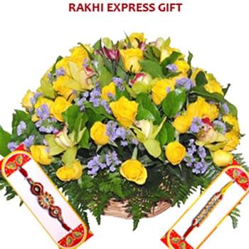 Rakhi with Basket Yellow Roses Sameday