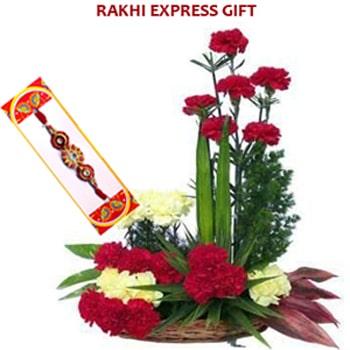 Carnations Basket with Rakhi Sameday
