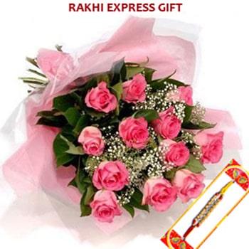 Pink Roses with Rakhi Sameday