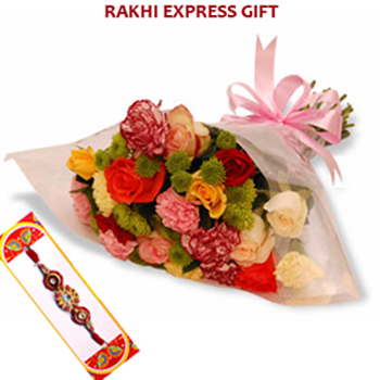Roses and Carnation Bouquet with Rakhi