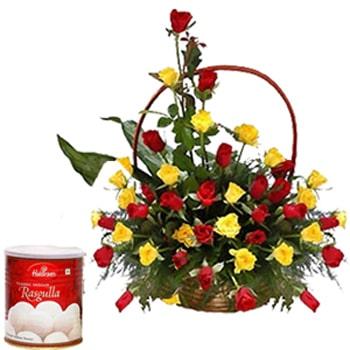 Janmashtami-Roses Basket with Rasgulla