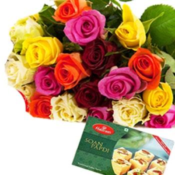 Janmashtami-20 Mix Roses with 1Kg Soan Papdi